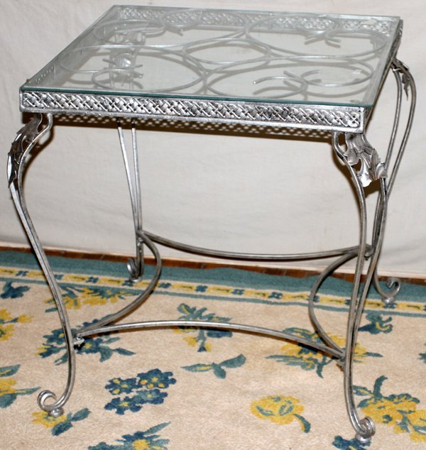 "063010: WROUGHT IRON TABLE W/GLASS TOP, H29.8"" W27.5"""