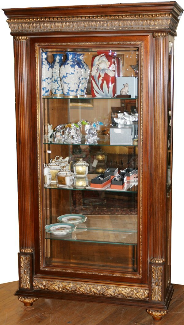 063011: NEOCLASSICAL STYLE CHERRY DISPLAY CABINET