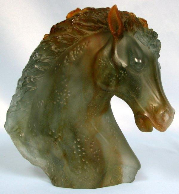 "063404: DAUM ART GLASS ANDALUSIAN HORSE HEAD H9"" W9"""