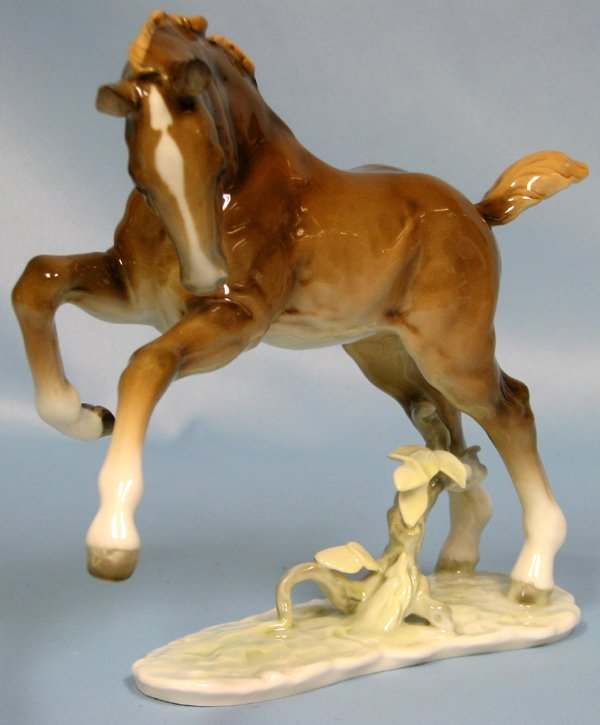 """063415: HUTCHENREUTHER PORCELAIN 'FOAL LEAPING' H7.8"""""""