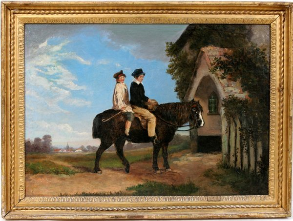 060002: ENGLISH SCHOOL OIL ON CANVAS, COUNTRY SCENE