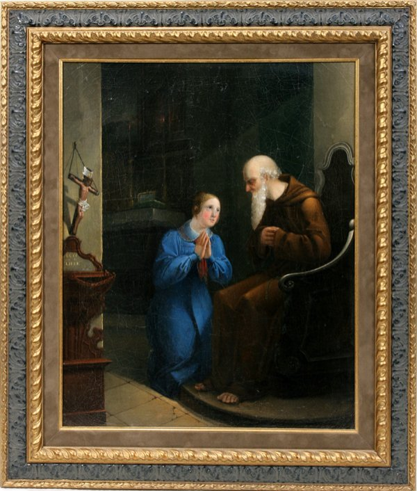 060005: BELGIAN OIL ON CANVAS, C.1950 RELIGIOUS SCENE