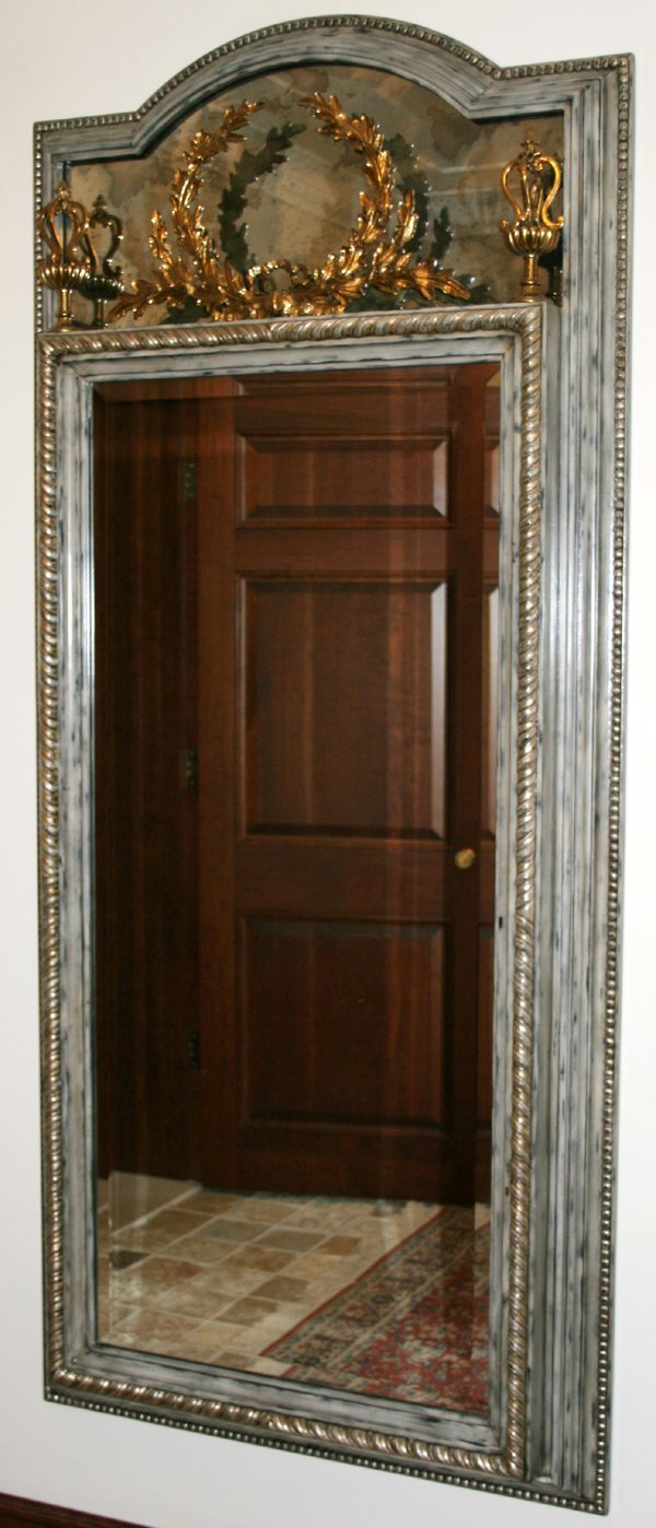 060008: CARVED WOOD & BRASS, BEVELED GLASS MIRROR