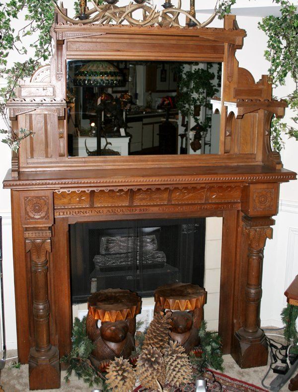 060010: VICTORIAN WALNUT FIREPLACE MANTEL & SURROUND