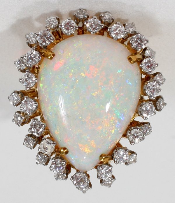 060014: OPAL, DIAMOND & YELLOW GOLD LADY'S RING