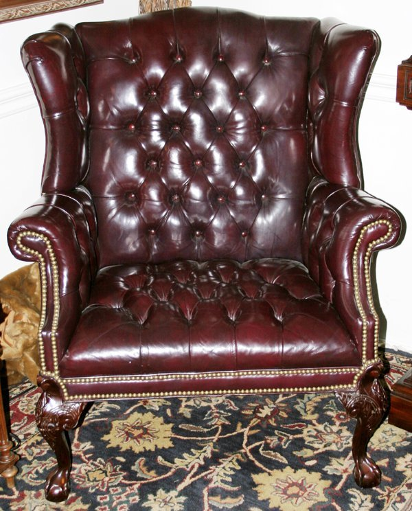 060015: CHIPPENDALE STYLE LEATHER & MAHOGANY ARMCHAIR