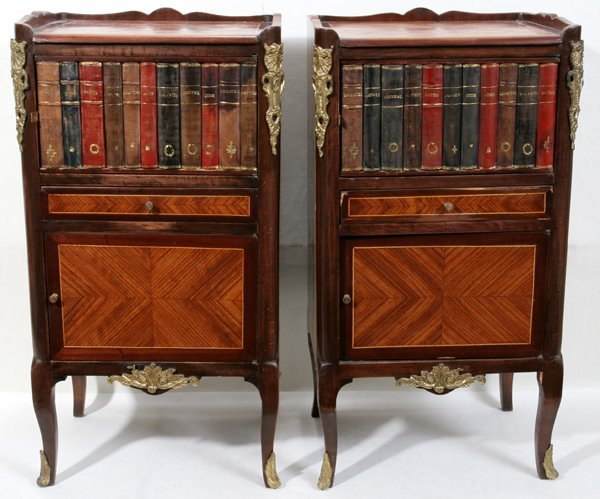 060020: FRENCH LEATHER BOOK BINDING FAÇADE CABINETS