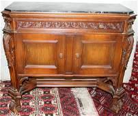 060103: FRENCH OAK COMMODE, BELGIAN MARBLE TOP C.1920