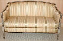 061008 HICKORY CHAIR FR STYLE WOOD  SILK LOVESEAT