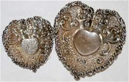 061185 GORHAM STERLING SILVER PIERCED HEART DISHES