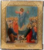 061284 RUSSIAN WOOD PANEL ICON THE RESURRECTION