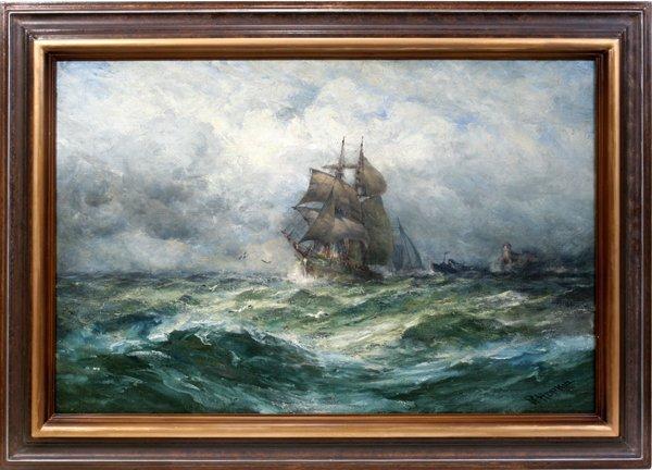 062005: ROBERT HOPKIN OIL ON CANVAS, CLIPPER SHIP
