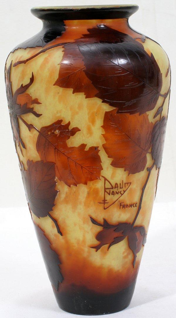 "062008: DAUM NANCY CAMEO GLASS VASE. H10"""
