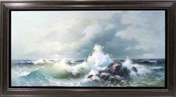 062010: EUGENE R. GARIN OIL ON CANVAS, SEASCAPE