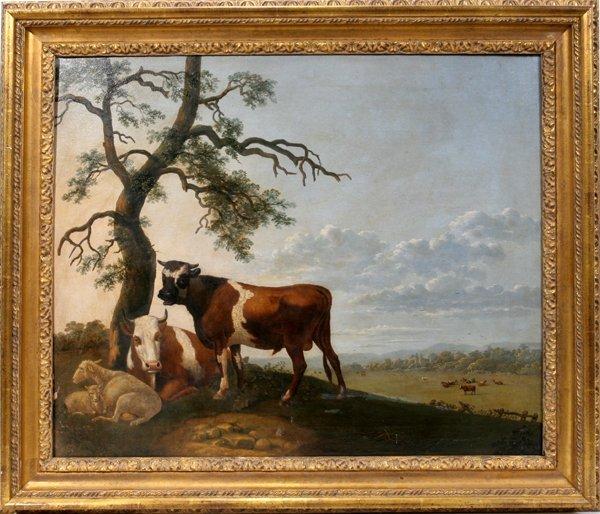 """062013: EUGENE DE BRAY 30""""x25"""", LANDSCAPE W/ COWS"""