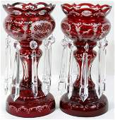 062217 BOHEMIAN RUBY CRYSTAL HAND ETCHED LUSTRES