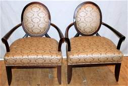 062303 MAHOGANY FRAME OVAL BACK ARM CHAIRS PAIR