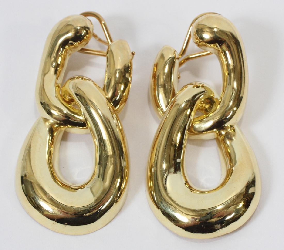 """18KT GOLD LINK EARRINGS, W 1"""", L 2"""", 33.4 GRAMS"""