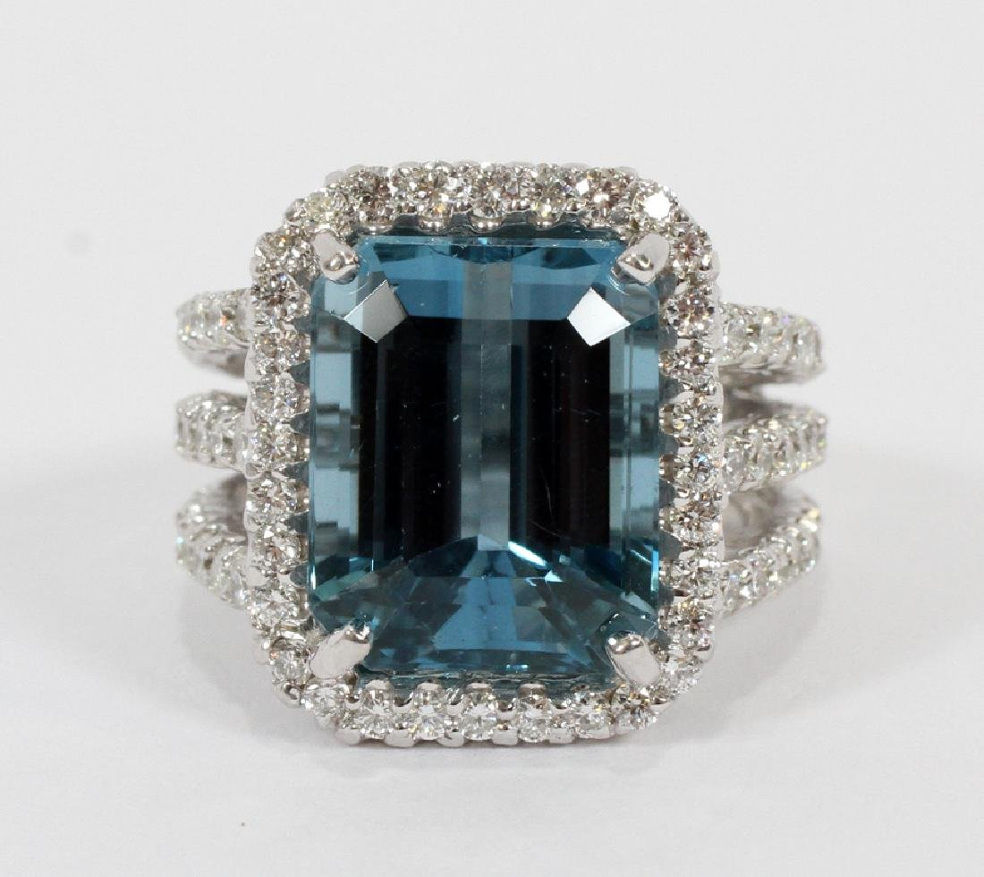 15CT NATURAL BLUE TOPAZ, 2.40CT DIAMOND RING