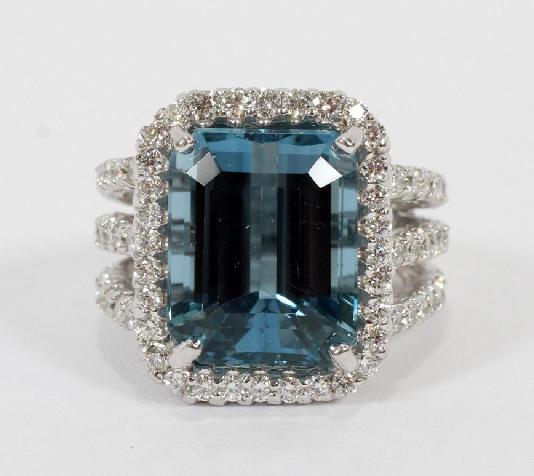 15CT NATURAL BLUE TOPAZ, 2.40CT DIAMOND RING