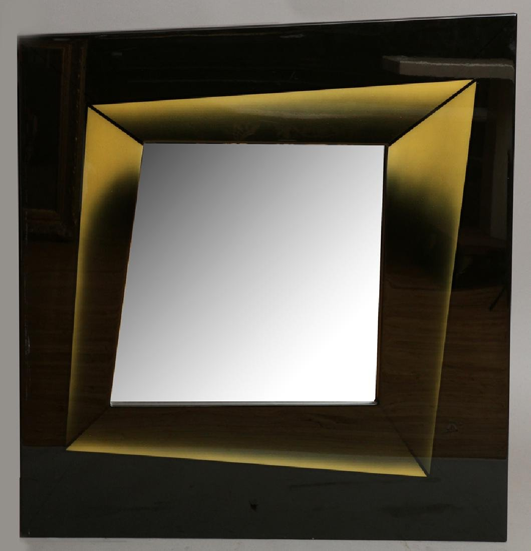 CONTEMPORARY WOOD AND ACRYLIC WALL MIRROR