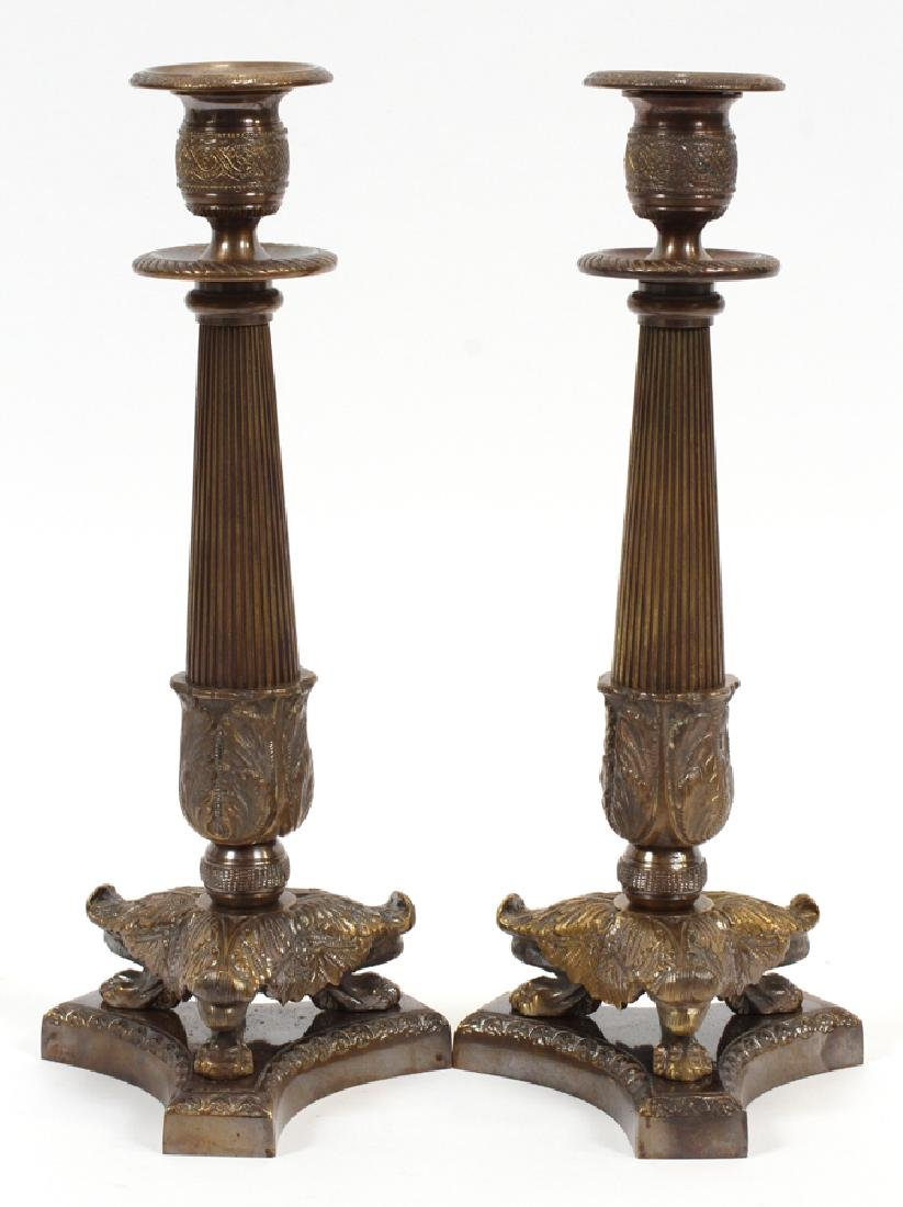 """BRONZE CANDLE HOLDERS, PAIR, H 12"""" L 4 1/2"""""""