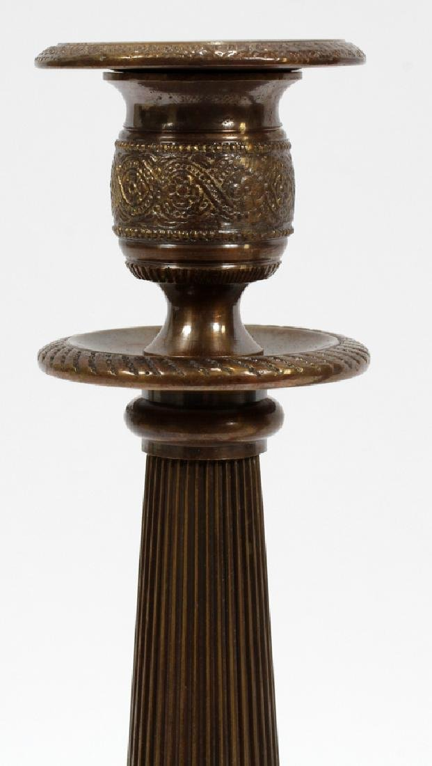 """BRONZE CANDLE HOLDERS, PAIR, H 12"""" L 4 1/2"""" - 3"""