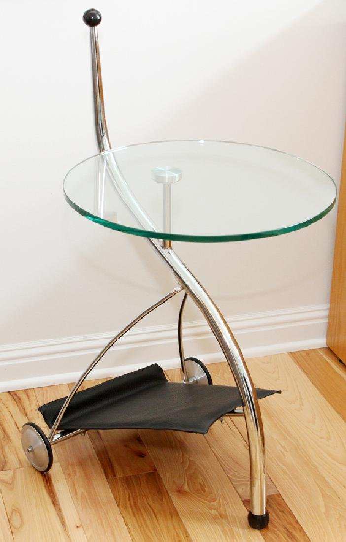 MODERN CHROME AND GLASS SIDE TABLES, LATE 20TH C.