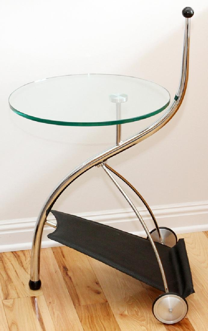 MODERN CHROME AND GLASS SIDE TABLES, LATE 20TH C. - 2