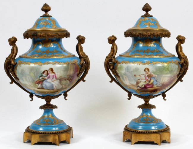 FRENCH SEVRES PORCELAIN AND BRONZE URNS 19TH.C.
