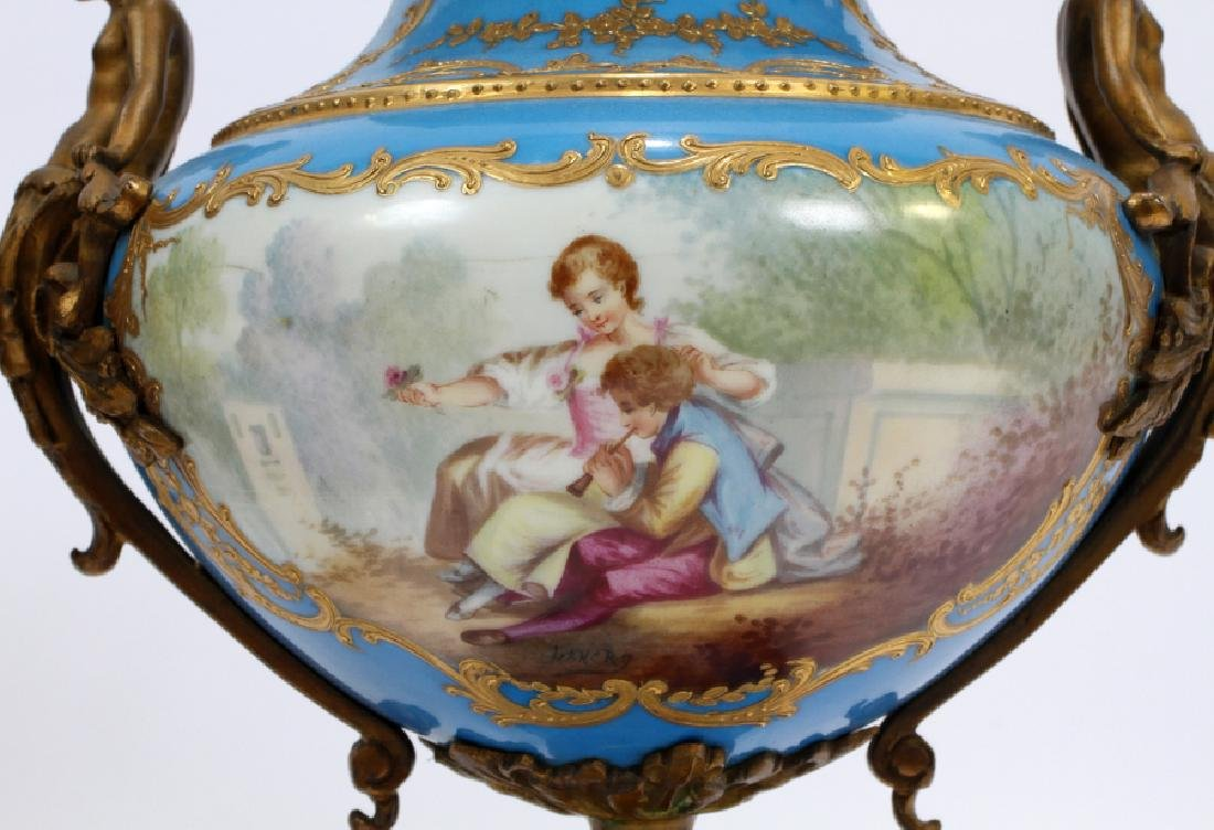 FRENCH SEVRES PORCELAIN AND BRONZE URNS 19TH.C. - 2