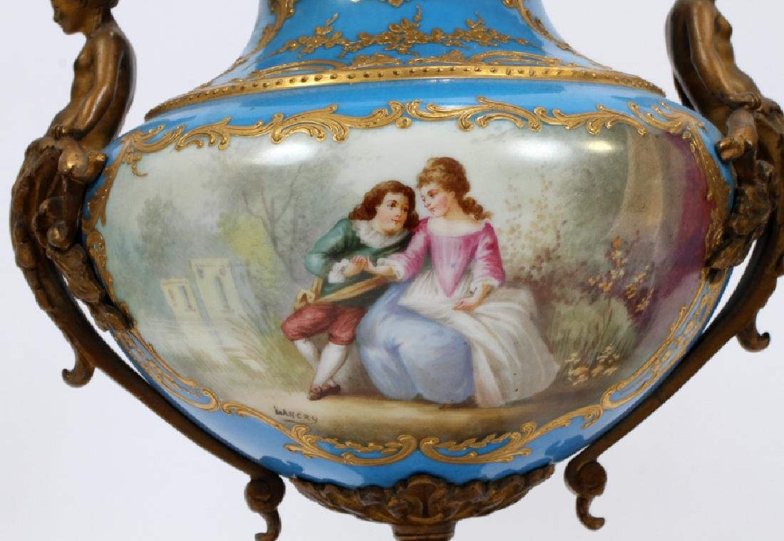 FRENCH SEVRES PORCELAIN AND BRONZE URNS 19TH.C. - 4