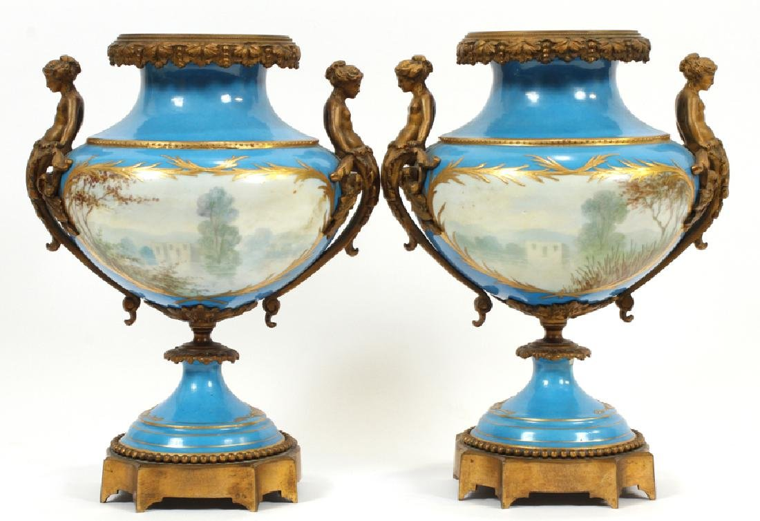 FRENCH SEVRES PORCELAIN AND BRONZE URNS 19TH.C. - 7