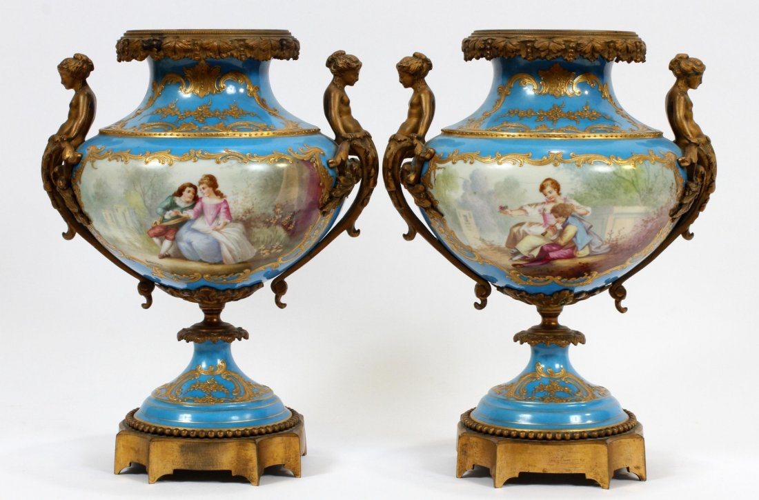 FRENCH SEVRES PORCELAIN AND BRONZE URNS 19TH.C. - 9