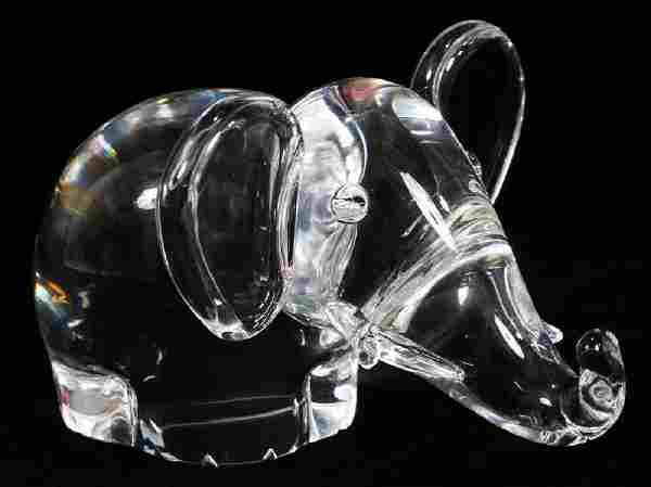 """STEUBEN CRYSTAL ELEPHANT, H 4"""", W 5 1/2"""", D 7"""""""