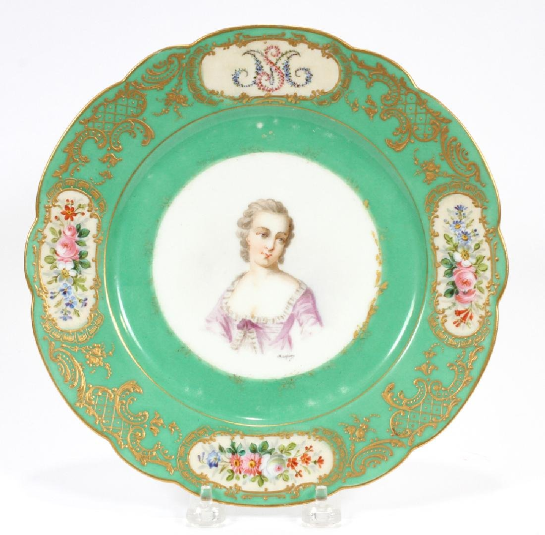 SEVRES FRENCH HAND PAINTED PORCELAIN PLATE