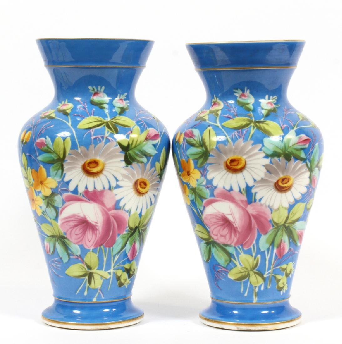 FRENCH PORCELAIN URNS, 19TH C., PAIR
