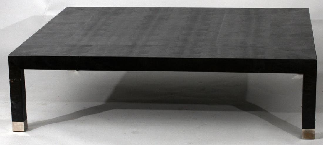 """LEATHER TEXTURED TABLE, H 16"""", W 60"""", D 48"""""""