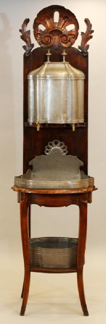"""ANTIQUE CARVED WOOD AND NICKEL SINK, H 74"""", W 22"""""""