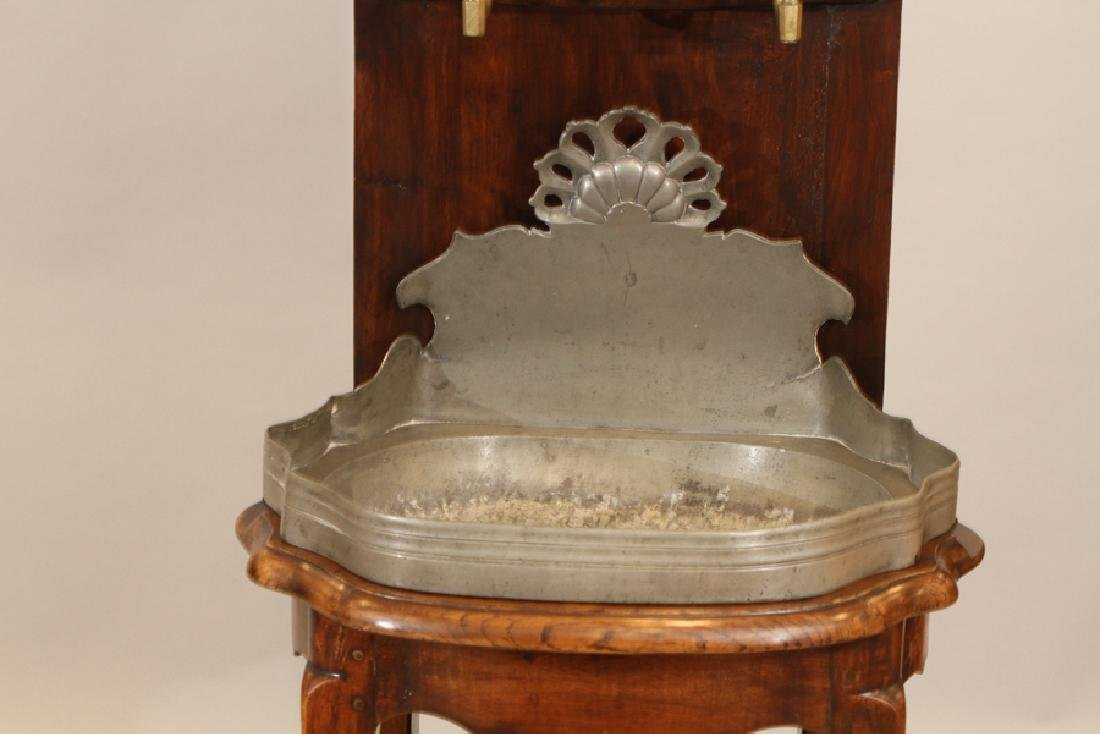 """ANTIQUE CARVED WOOD AND NICKEL SINK, H 74"""", W 22"""" - 3"""