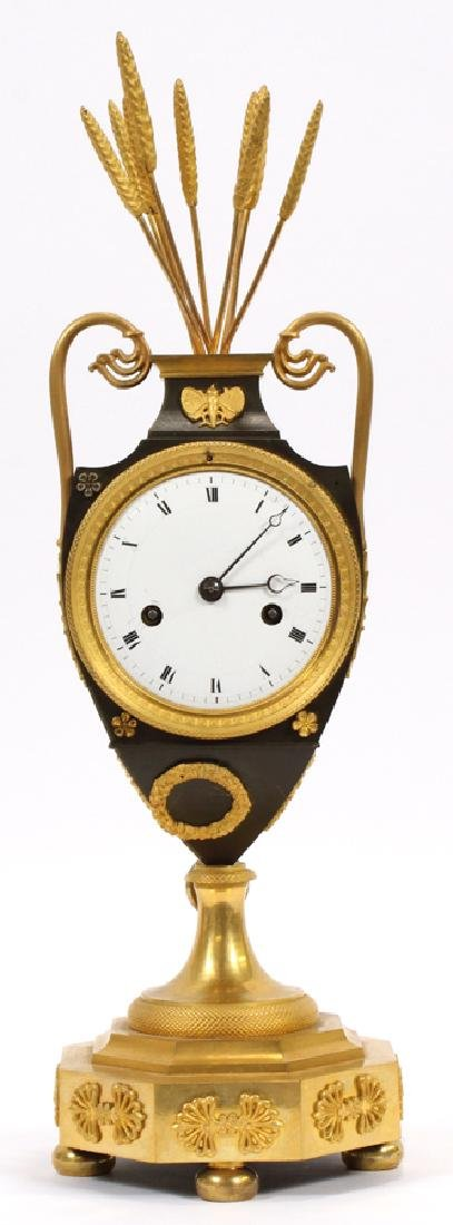 """FRENCH EMPIRE BRONZE MANTLE CLOCK H 16.5"""" W 5"""""""