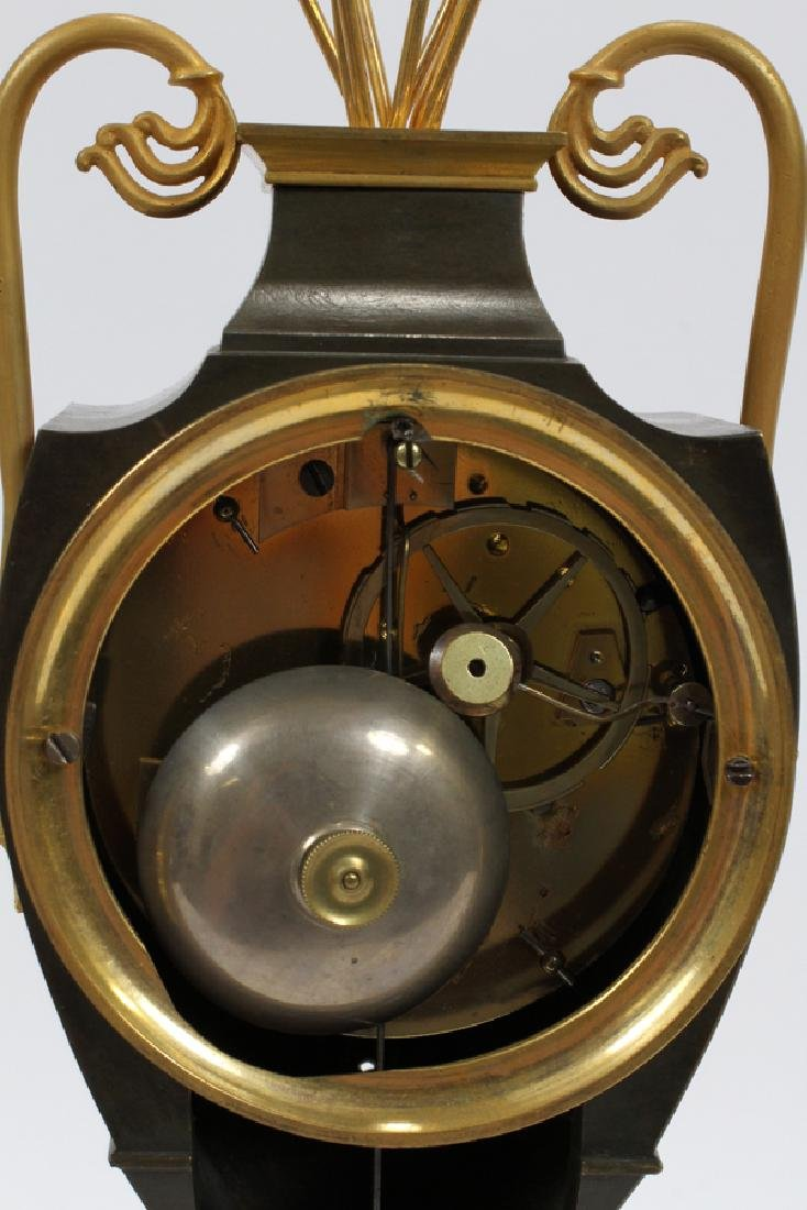 """FRENCH EMPIRE BRONZE MANTLE CLOCK H 16.5"""" W 5"""" - 2"""