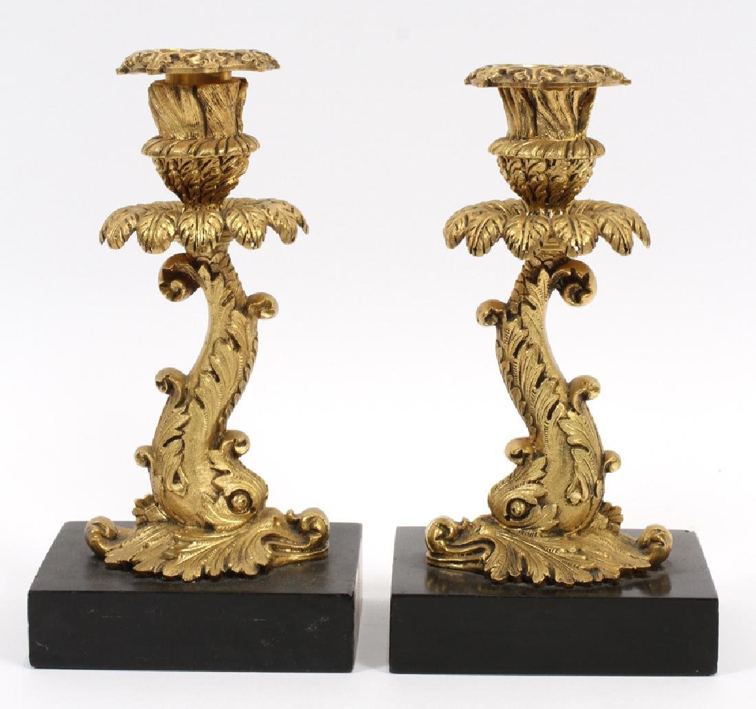 FRENCH BRONZE ON MARBLE CANDLESTICKS 19TH.C.