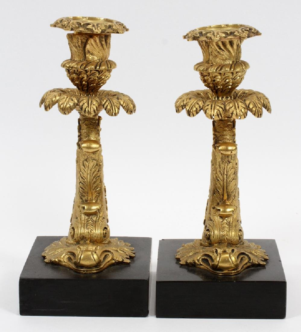 FRENCH BRONZE ON MARBLE CANDLESTICKS 19TH.C. - 2
