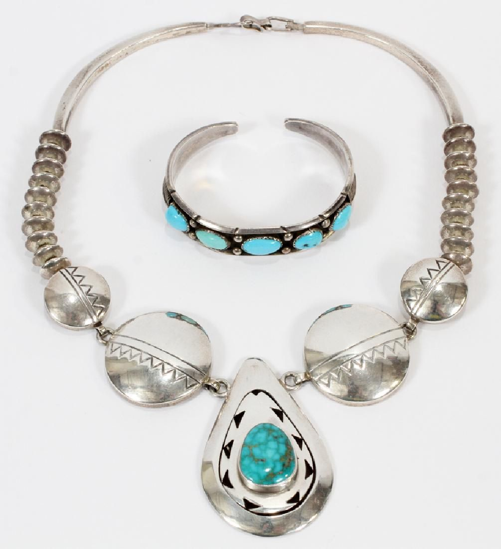 STERLING NECKLACE W/ TURQUOISE ALSO CUFF BRACELET