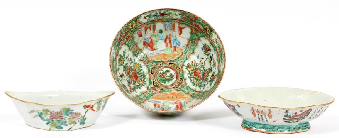 CHINESE PORCELAIN ROSE MEDALLION BOWL AND 2 OTHERS