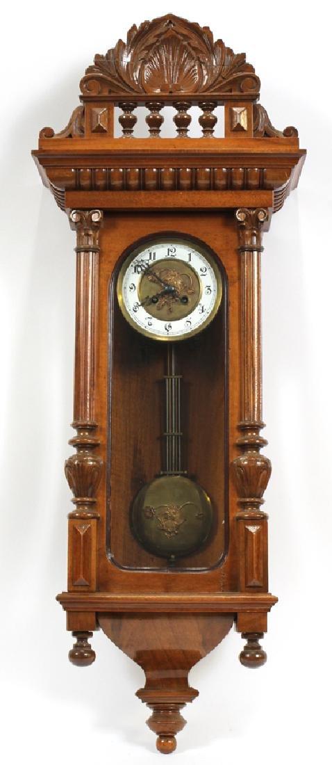"""GERMAN WALNUT WALL CLOCK, H 34 1/2"""", W 14 1/2"""""""