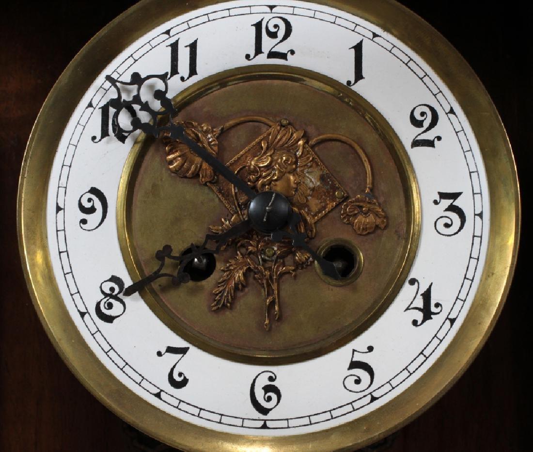 """GERMAN WALNUT WALL CLOCK, H 34 1/2"""", W 14 1/2"""" - 3"""