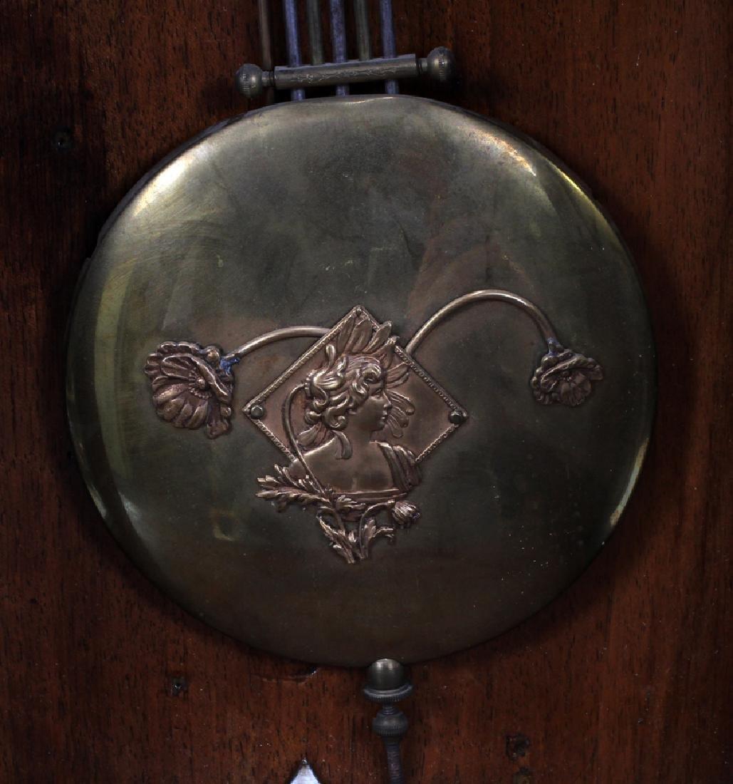 """GERMAN WALNUT WALL CLOCK, H 34 1/2"""", W 14 1/2"""" - 4"""