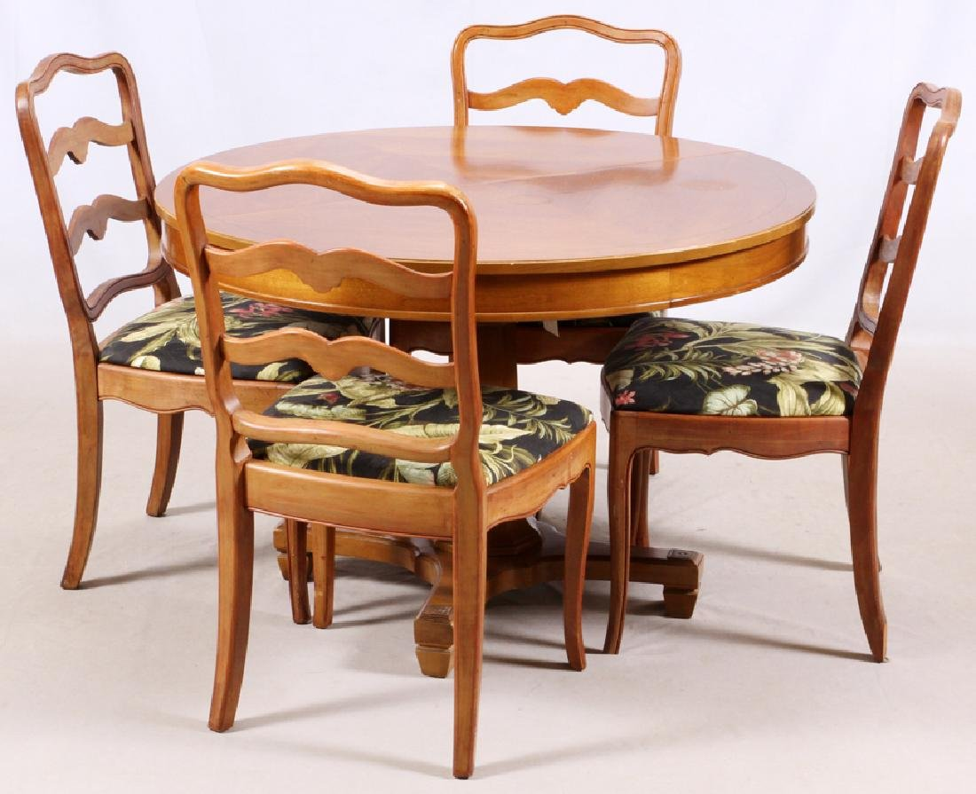 THOMASVILLE PROVINCIAL WALNUT DINING TABLE & CHAIRS